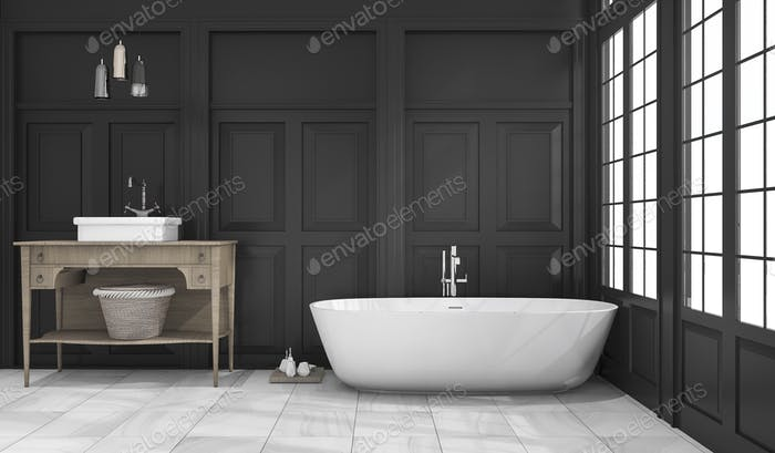 3d rendering black classic bathroom and toilet near window