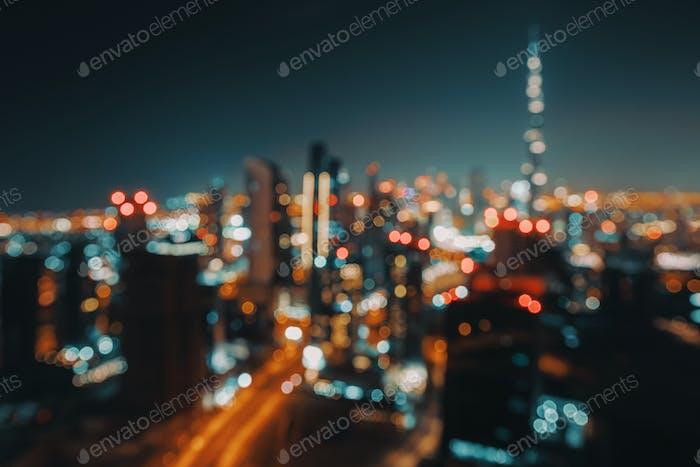 Bokeh-Hintergrund einer Nachtstadt