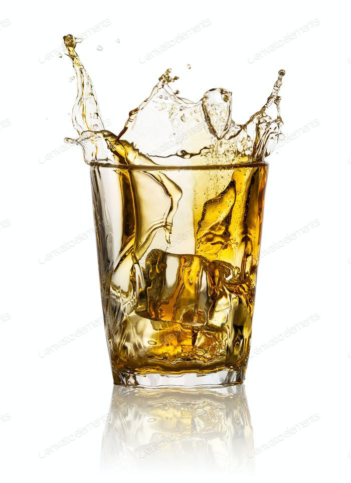 Splash in glass of whiskey