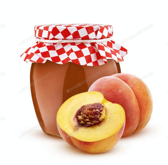 Jar of peach jam isolated on white background
