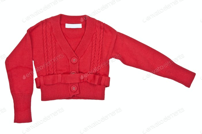 red sweater with a belt