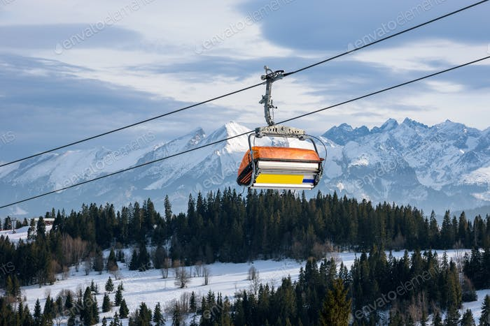 Modern ski chair lift in Tatra Mountains