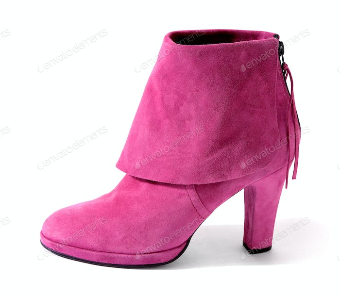 Pink suede high heel bootie with big hem