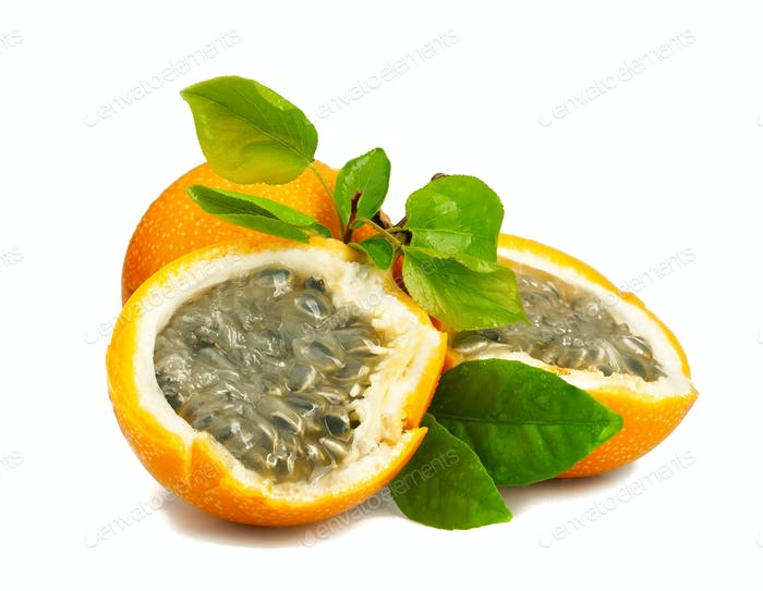 Ripe juicy grenadilla isolated on white background