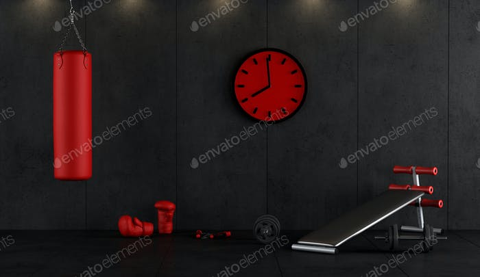 Red and black boxing gym