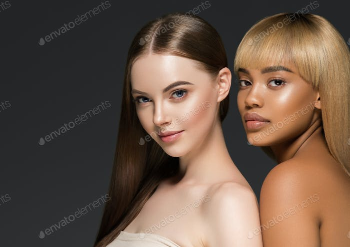 African caucasian beauty women two portrait. Clean skin ethnic concept