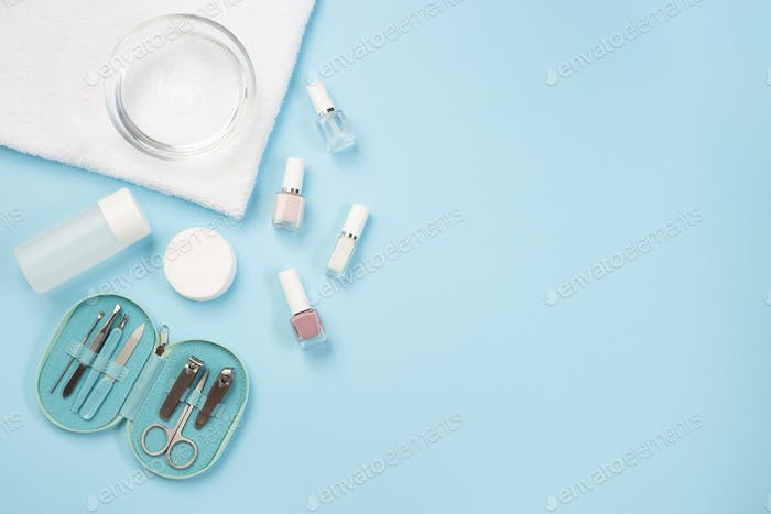 Spa set equipment for manicure or pedicure with nail polish