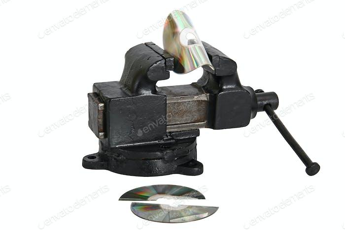 cd disk in vise