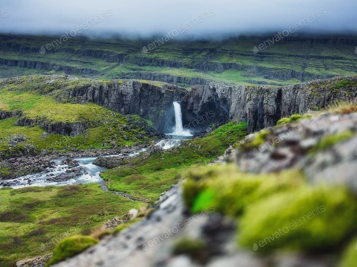 Landscape in Iceland. It's a famous place in Iceland. A mountain valley and clouds.