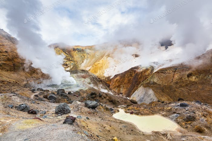 Beautiful Mountain Landscape, Crater of Active Volcano: Fumarole and Hot Spring Activity, Lava Field