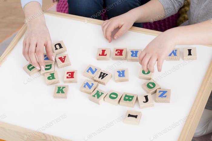 Bloques De madera con letras