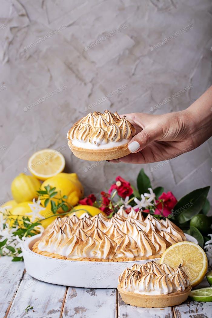 Zitrone Baiser Kuchen