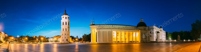 Vilnius, Lithuania, Eastern Europe. Evening Night Panorama Of Be