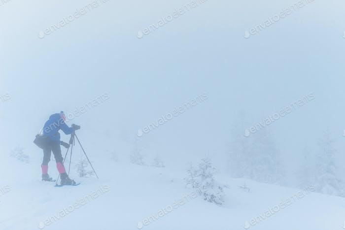 tourist in winter mountains. Happy New Year. Carpathian, Ukraine