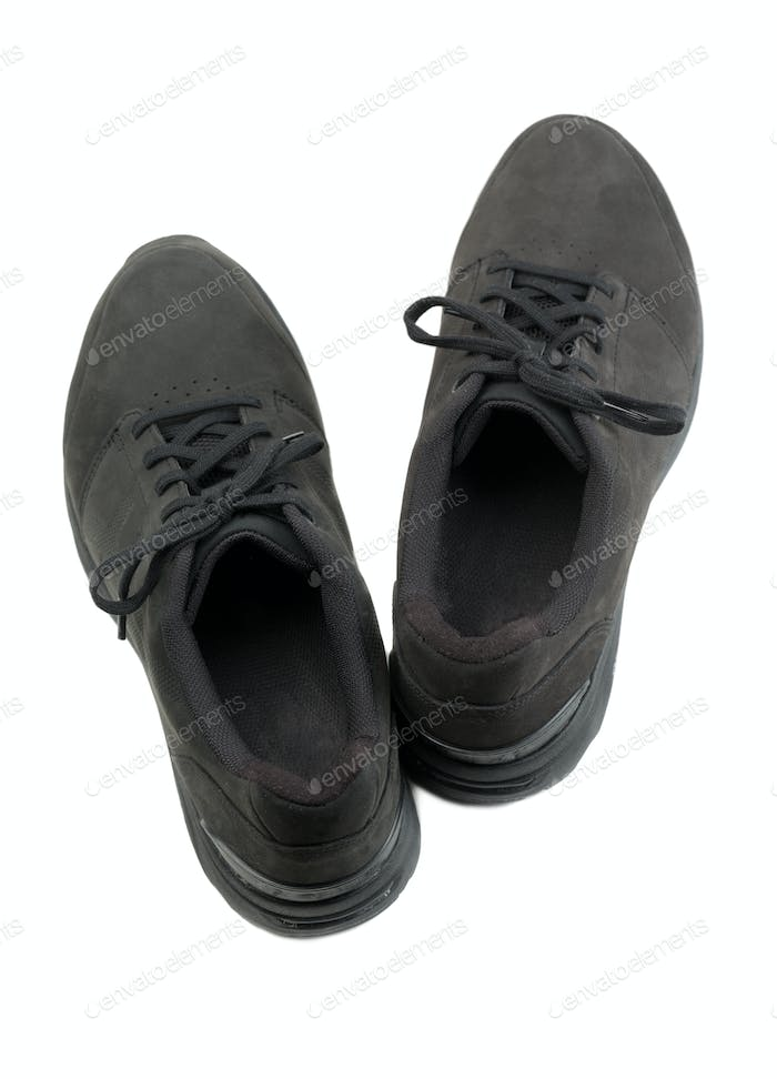 pair of black mens shoes.