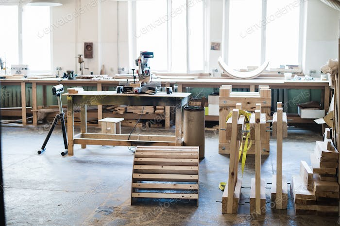 Carpentry workshop with tools and supplies