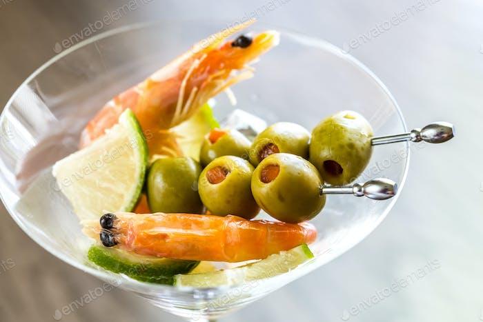 Seafood in martini glass