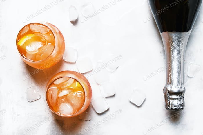 Italian Orange Cocktail With Aperitif, Ice, Sparkling Wine And Orange Slice