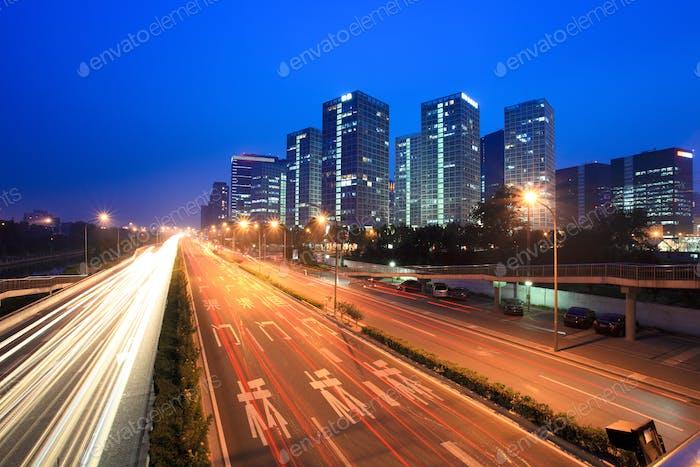 night traffic in beijing