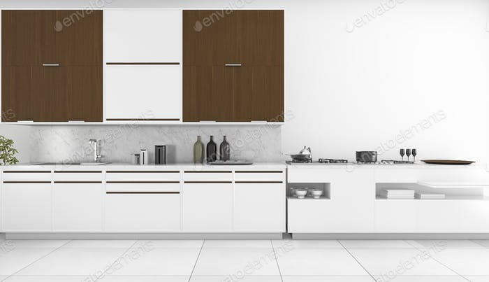 3d rendering minimal white kitchen and bar