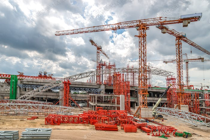 Construction Cranes on Site, Skytrain in Asia