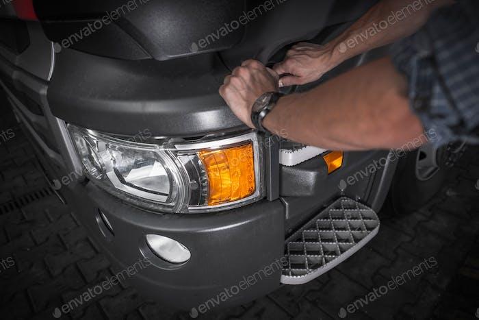 Driver Refueling Semi Truck