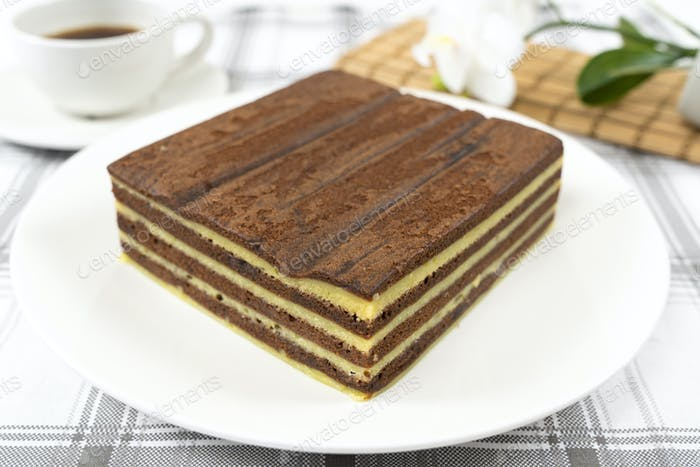 Traditional Sarawak Malaysia steamed layered cake