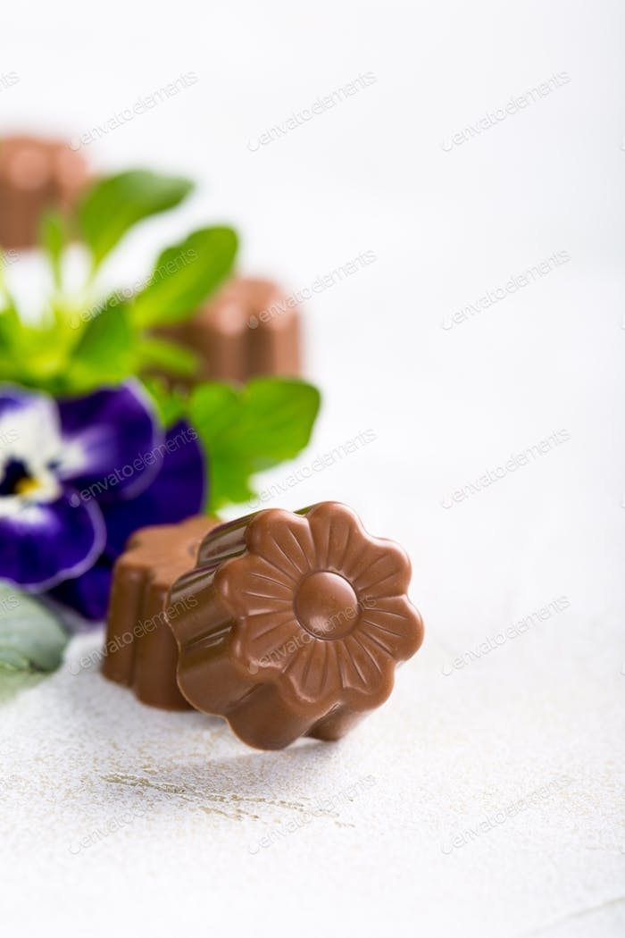 Chocolate candies in flower shape