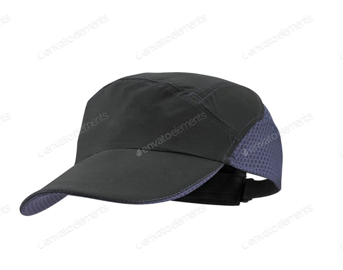 blue and black cap on white background