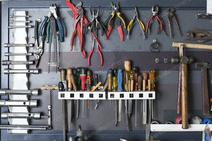 tools on a metal board