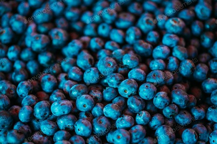 Fresh Blueberries Background Blue Texture