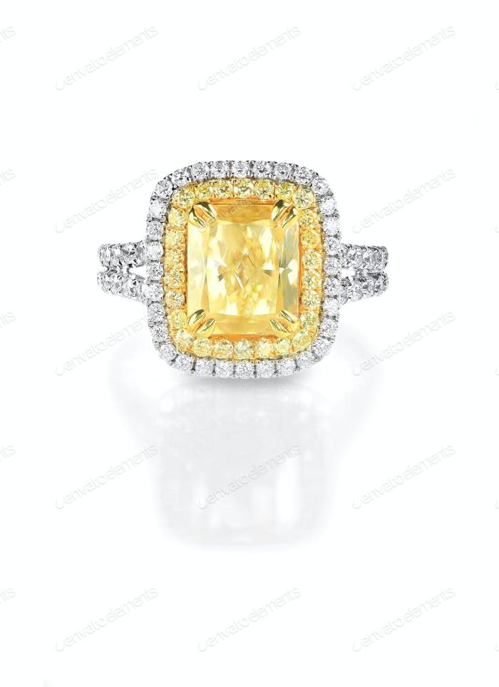 Thumbnail for Yellow Canary Diamond Large Engagment Ring in Halo Setting