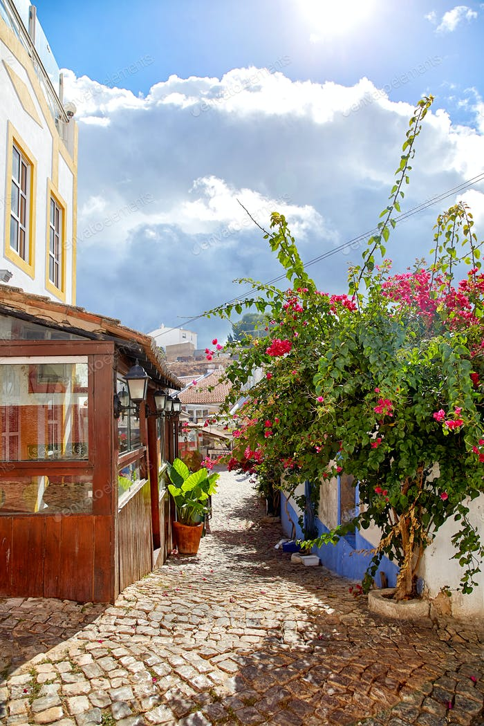 Beautiful narrow street of Alvor, Portugal