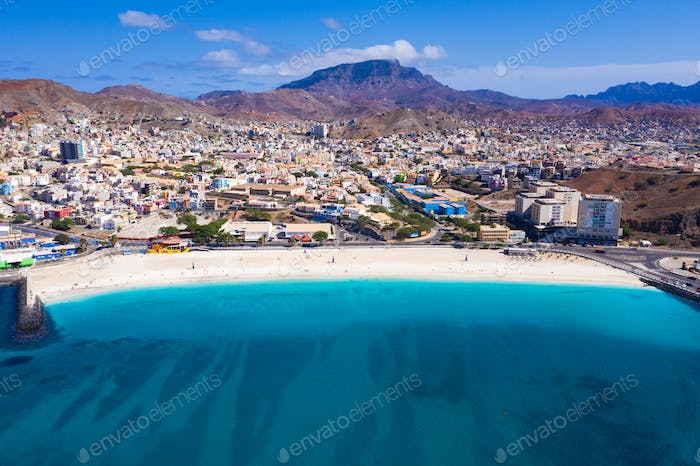 Aerial view of Laginha beach in Mindelo city in Sao Vicente Island in Cape Verde