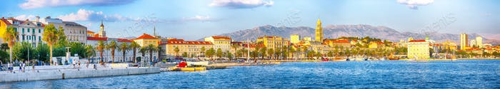Fantasic view of the promenade the Old Town of Split with the Palace of Diocletian and marina.