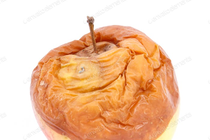 Old moldy apple on white background, unhealthy and disgusting fruit