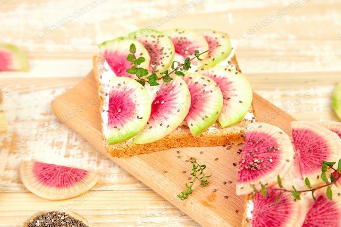 Toasts with radish