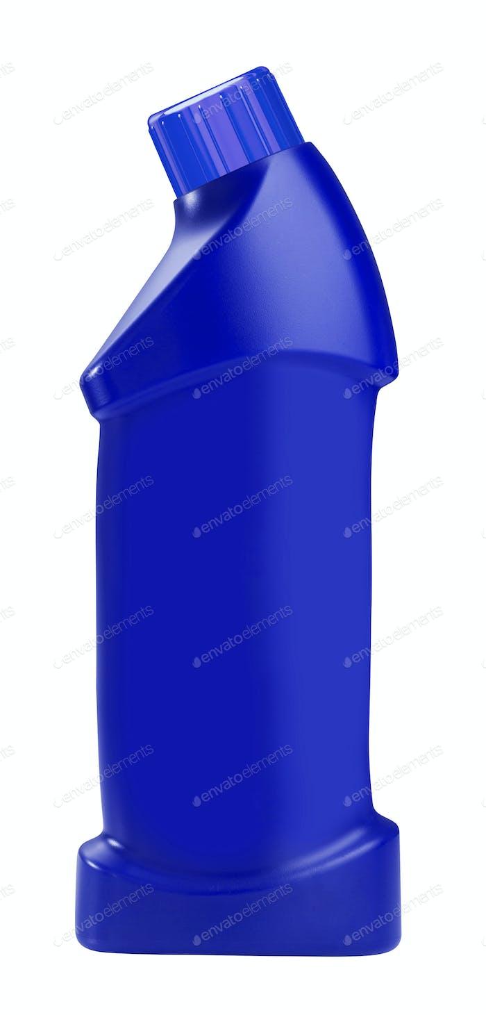 Plastic bottle of household detergent on white background