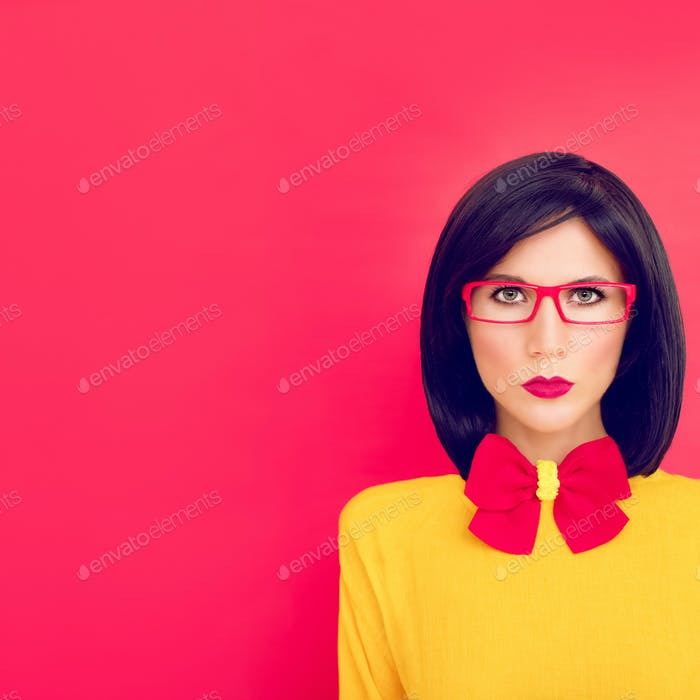 portrait serious girl on a red background