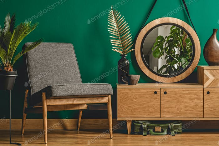 Green vintage room interior concept
