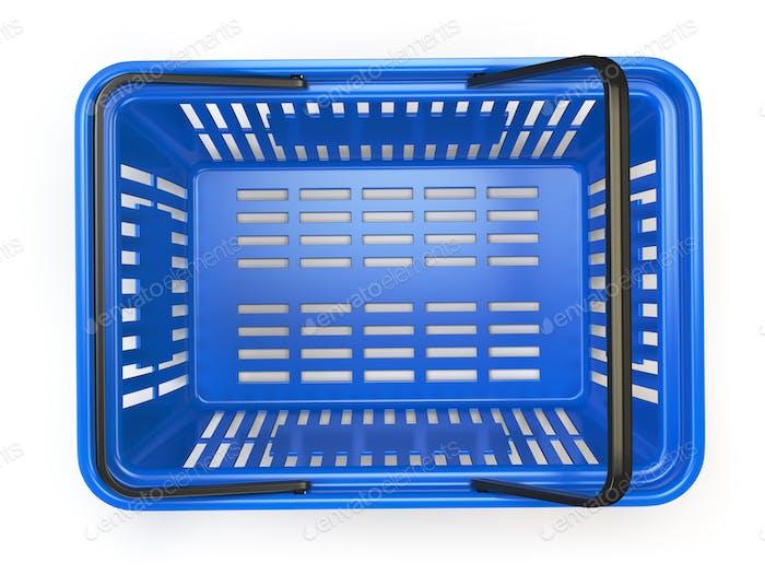 Blau leerer Einkaufskorb isoliert auf weißem Hintergrund