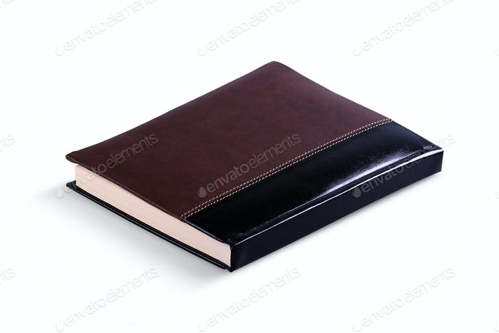 Leather covered agenda isolated.