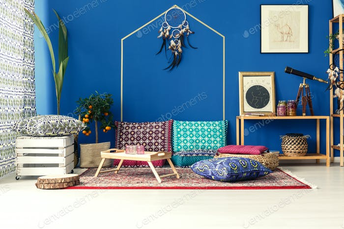 Oriental interior with colorful pillows