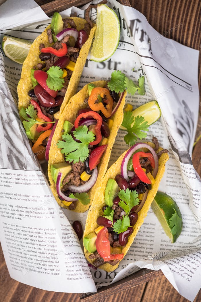 Tasty tacos served in pub or bar