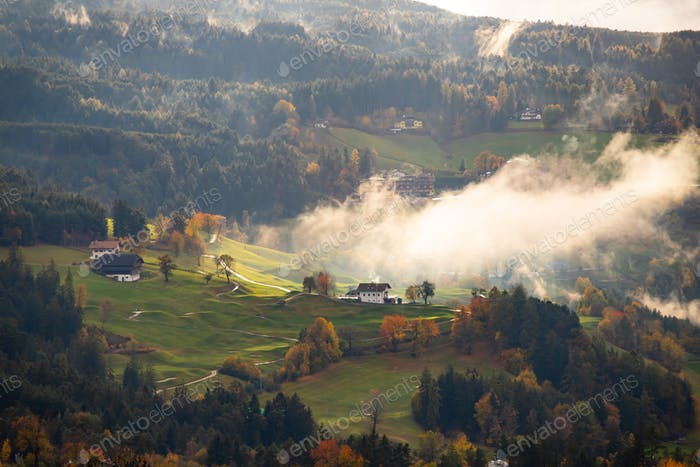 Dolomite mountains in autumn colors.