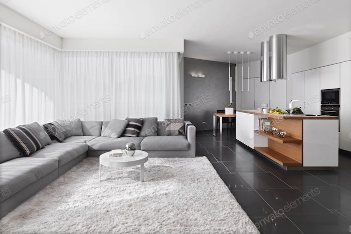 Interiors of the Living Room Overlooking the Modern Kitchen