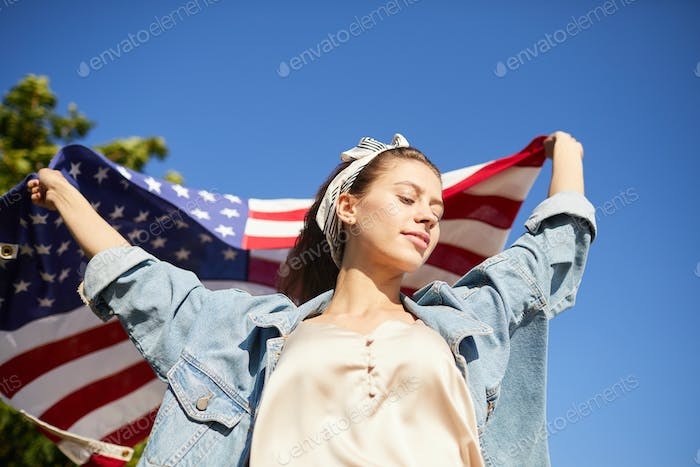 Free American girl with flag