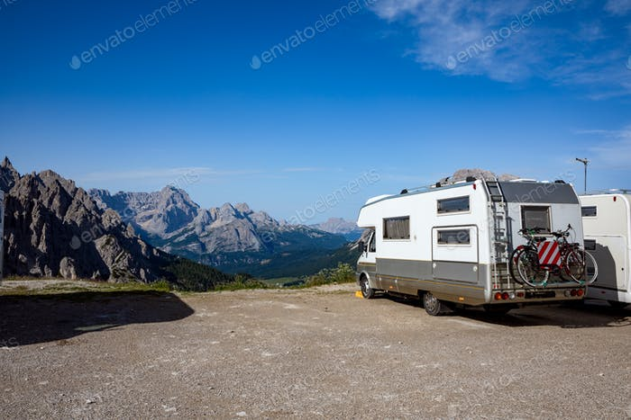 Family vacation travel, holiday trip in motorhome VR