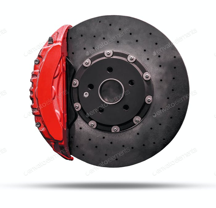 brake disc and red caliper