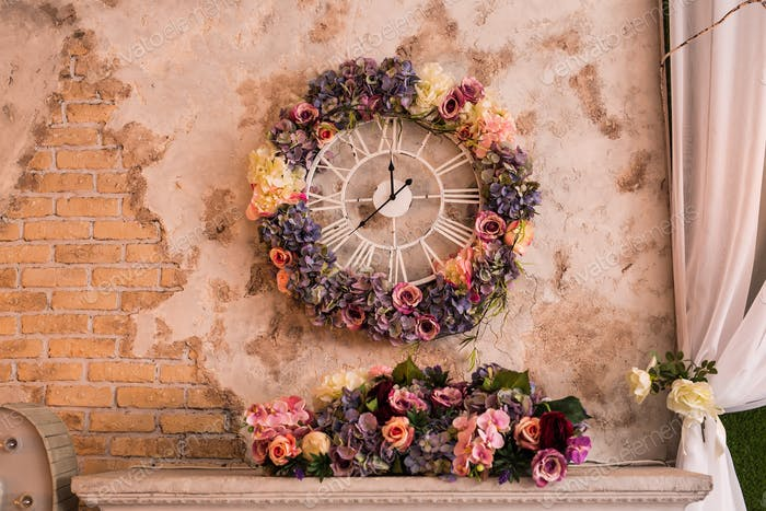 Concept of time - Antique clock vintage style on the wall on interior